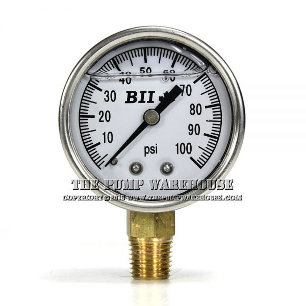 BII Well Pump Pressure Gauge | Liquid Filled | 0-100 PSI